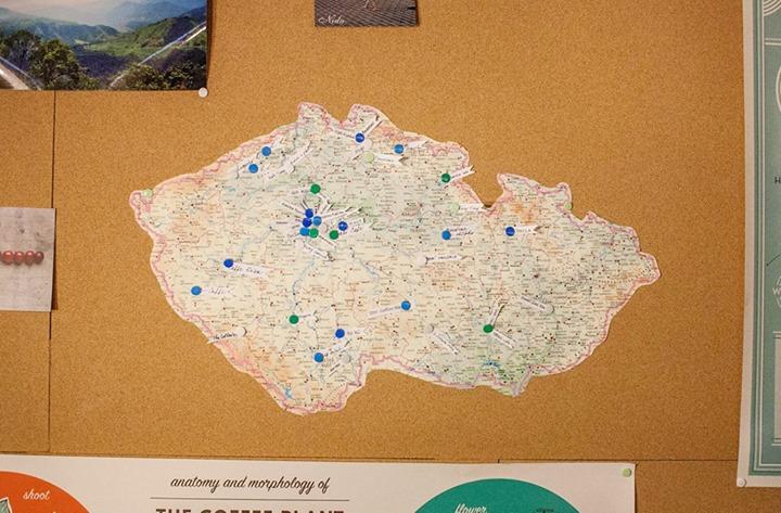 I my jsme na kávové mapě Petry a Gwilyma