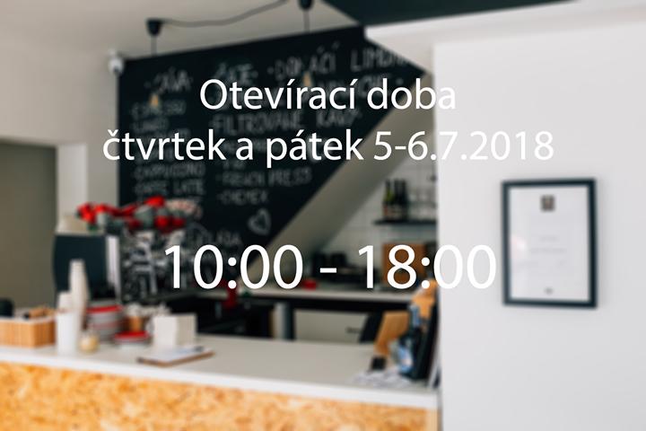 O nadcházející dva svátky – 5-6.7.2018 jsme pro vás v kavárně od 10:00 do 18:00 …
